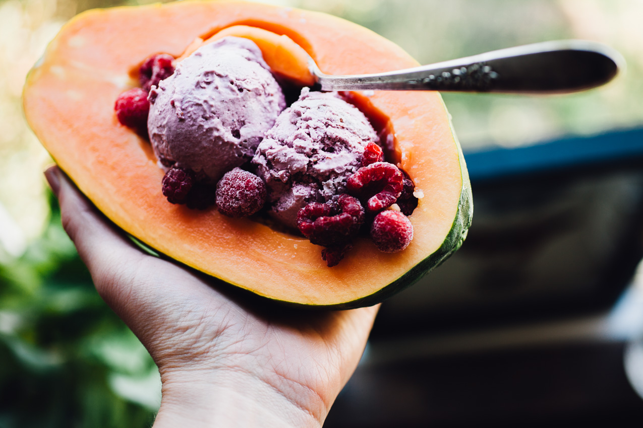 nice cream papaya boats | vegan recipe via willfrolicforfood.com