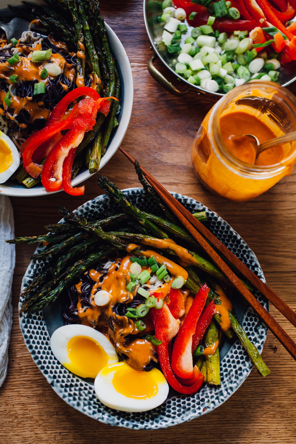 tahini gochujang ramen bowls with garlicky sumac roasted asparagus |recipe via willfrolicforfood.com