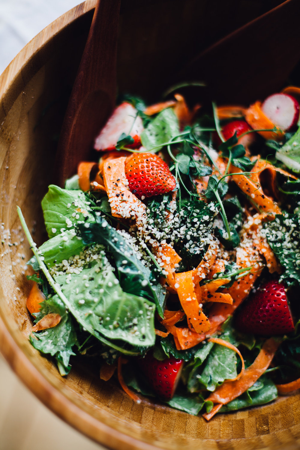 strawberry salad with spring greens and lemony hemp dressing | vegan recipe via willfrolicforfood.com