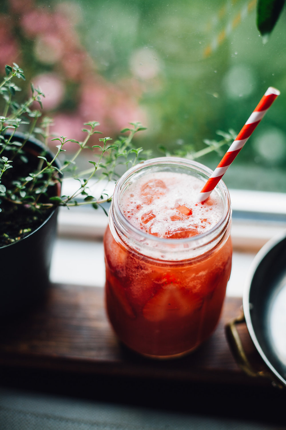 roasted strawberry rhubarb agua fresca | refined sugar free recipe via willfrolicforfood.com