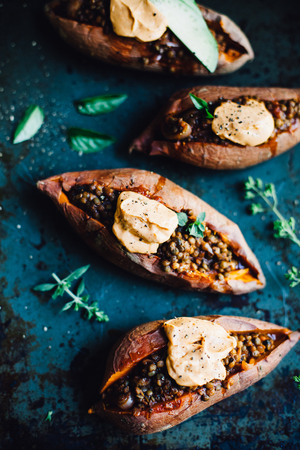 vegan lentil sloppy joe stuffed sweet potatoes | recipe via willfrolicforfood.com