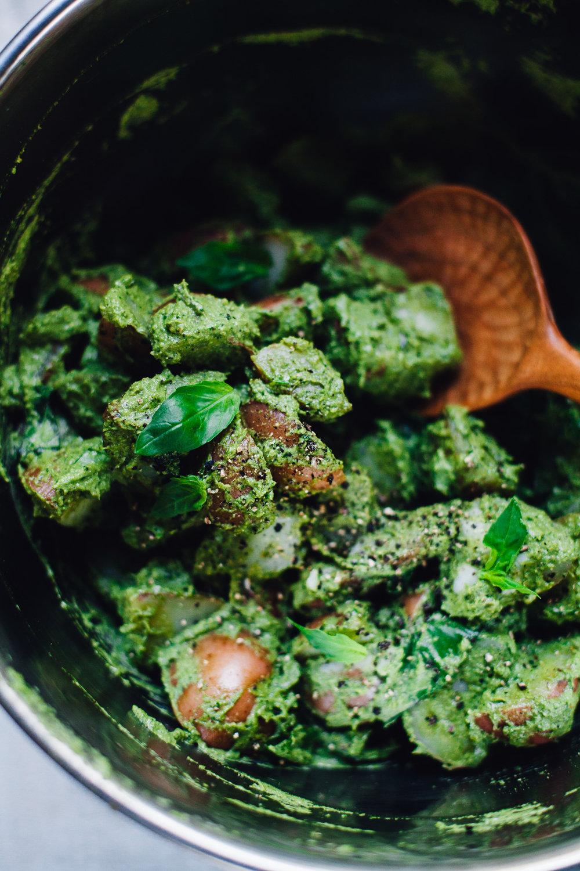 vegan pesto potato salad
