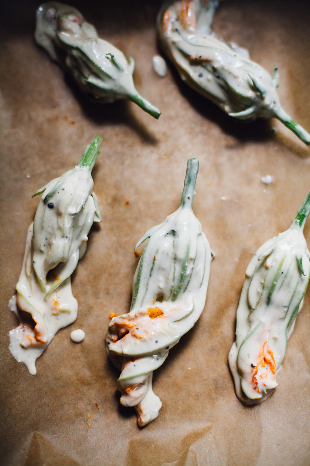 baked vegan cheese stuffed squash blossoms (gf option) | willfrolicforfood.com
