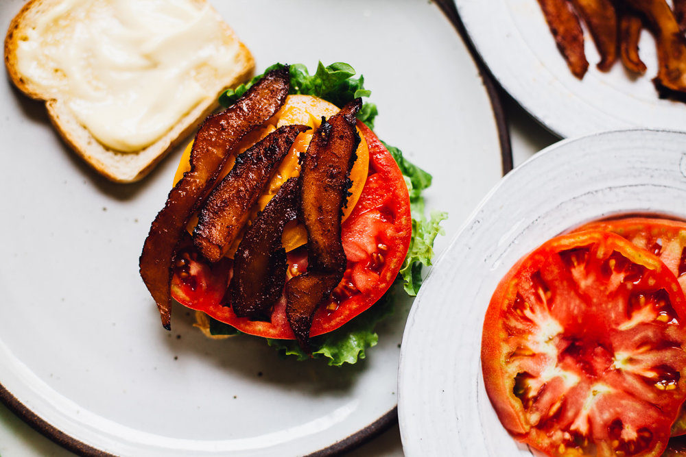 Vegan Coconut Bacon BLT | recipe via willfrolicforfood.com