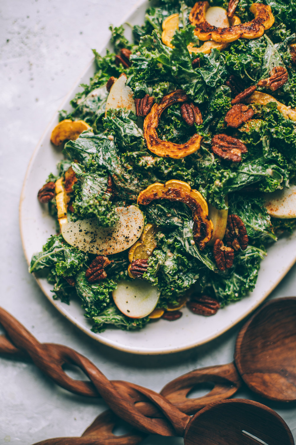 Harvest Moon Kale Caesar Salad Recipe with Cashew Maple Dijon Dressing + roasted delicata squash, apples and tamari pecans