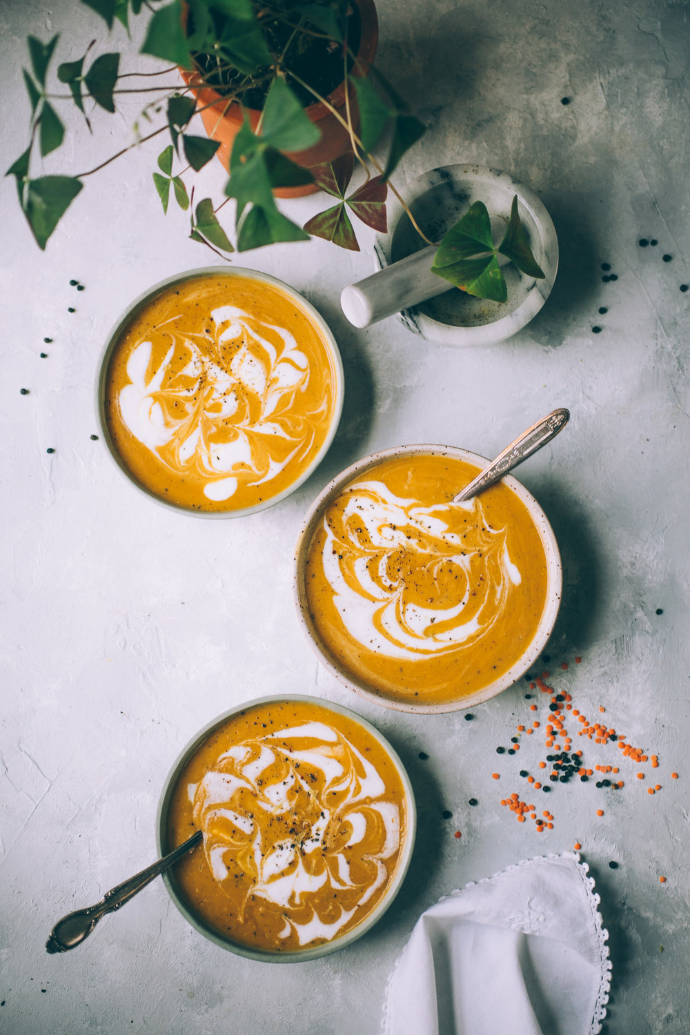 creamy curry butternut squash soup with red lentils and coconut yogurt swirl (vegan)