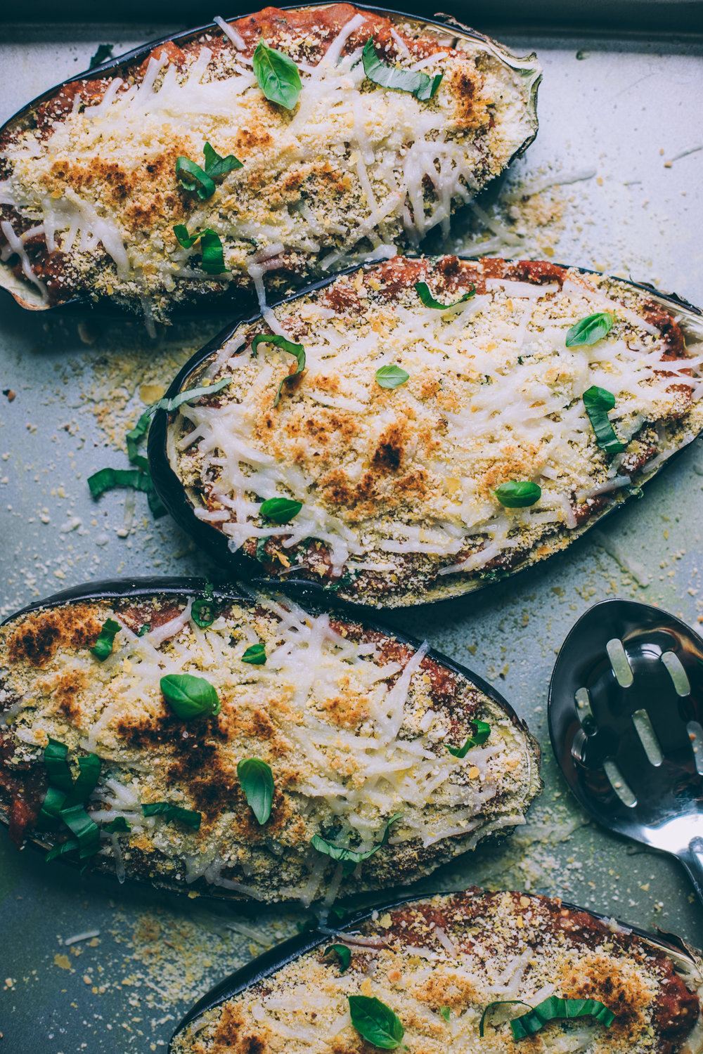 twice baked vegan eggplant parmesan recipe via willfrolicforfood.com