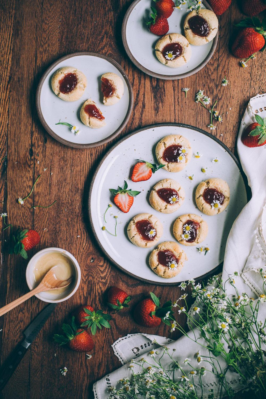 Honey-Sweetened Gluten Free Jam Thumbprint Cookies recipe via willfrolicforfood.com