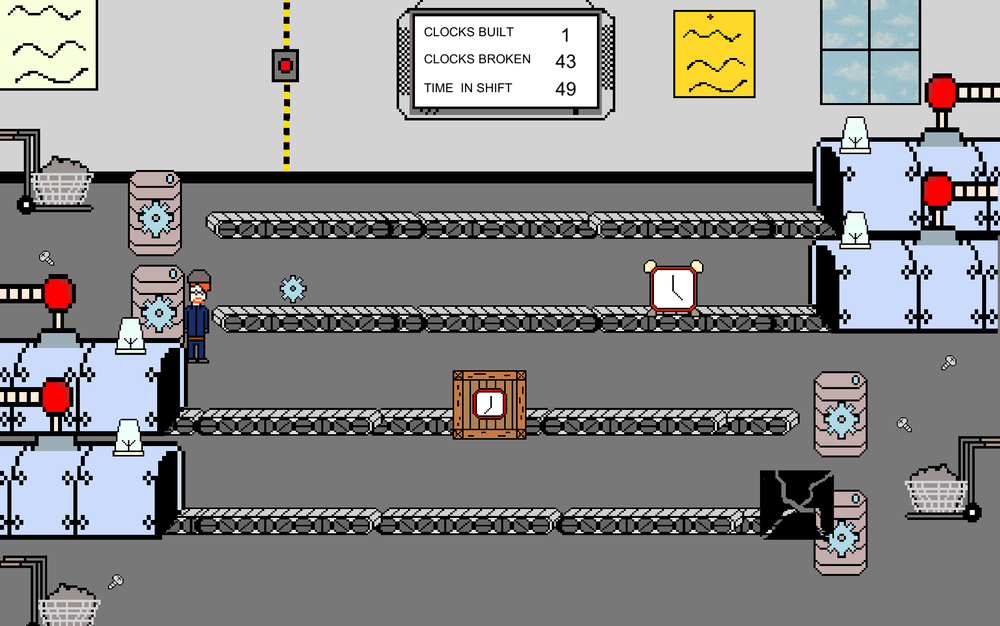 A screenshot of the second level set in a factory.