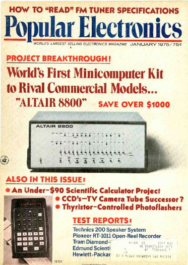 First Appearance of Altair 8800 - Popular Electronics - 1975