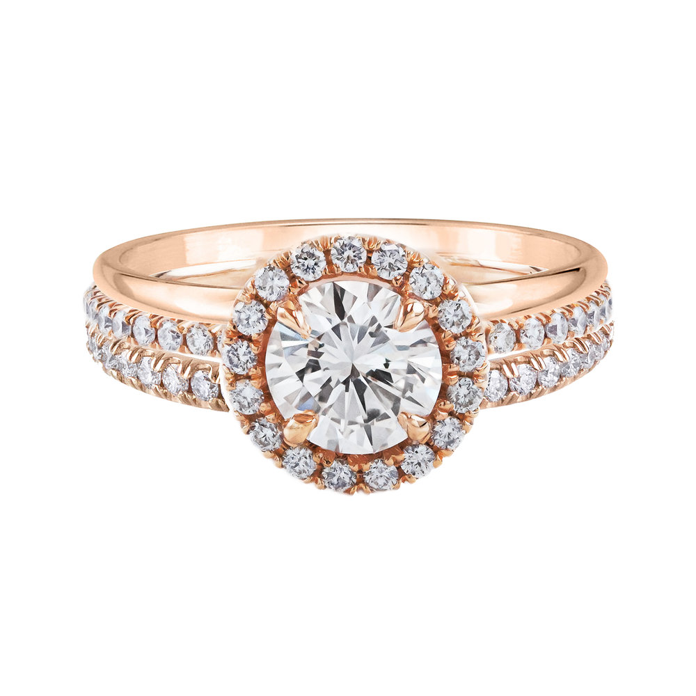 Diamond Halo Engagement Ring  with a plain rose gold wedding band and a  pave set diamond wedding band