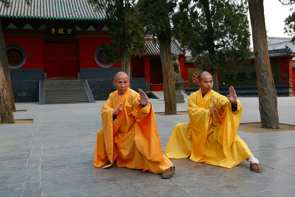 Two grandmasters of the Shaolin Temple Shi DeRu (Shawn Xiangyang Liu) and Shi DeYang (Shi WanFeng) who are two decedent disciples of the late Great Grand Master of the Shaolin Temple Shi SuXi (aka: His Holiness Upper Su and Lower Xi).