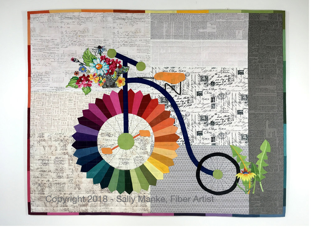 Penny Farthing (High Wheel) Bicycle Art Quilt