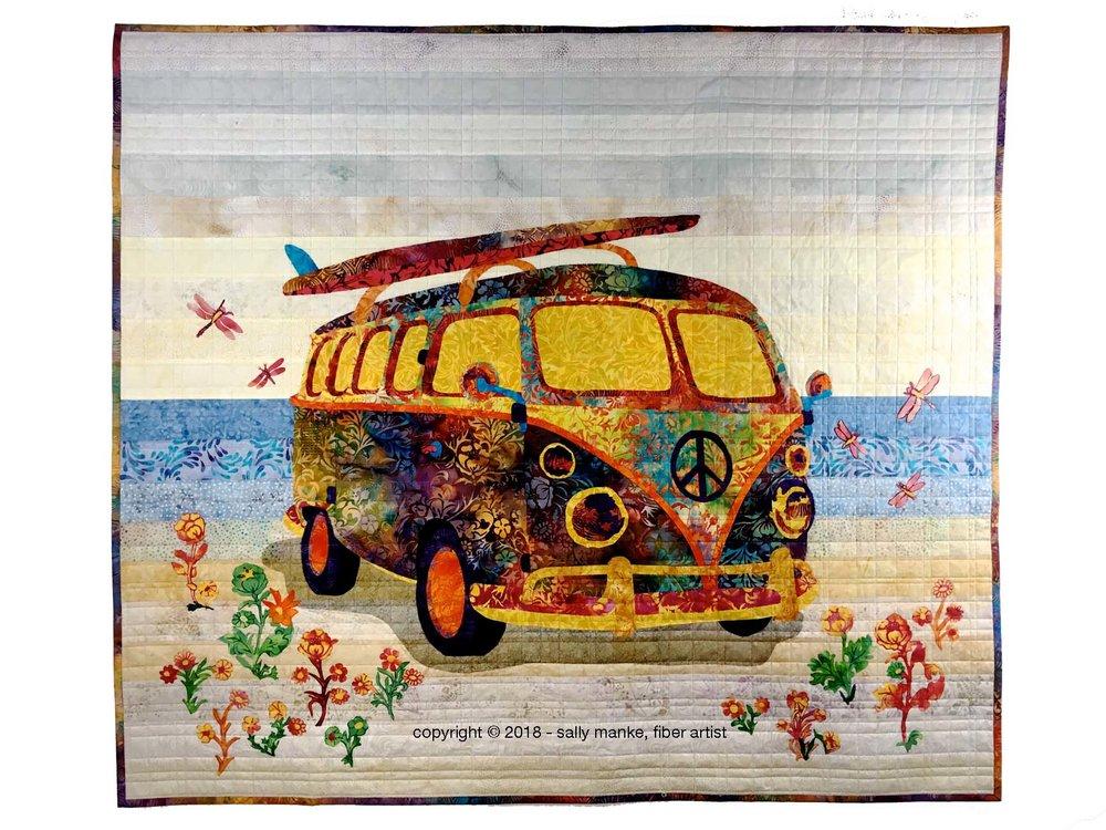 Flower Child Hippie Van Art Quilt Pattern  featured in Island Batik Canterbury Manor Fabrics
