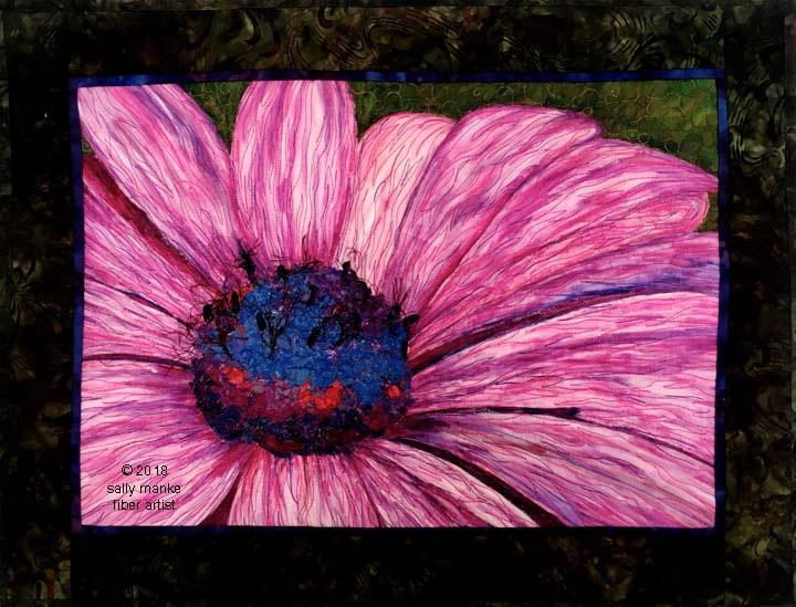 Pink Daisy Art Quilt