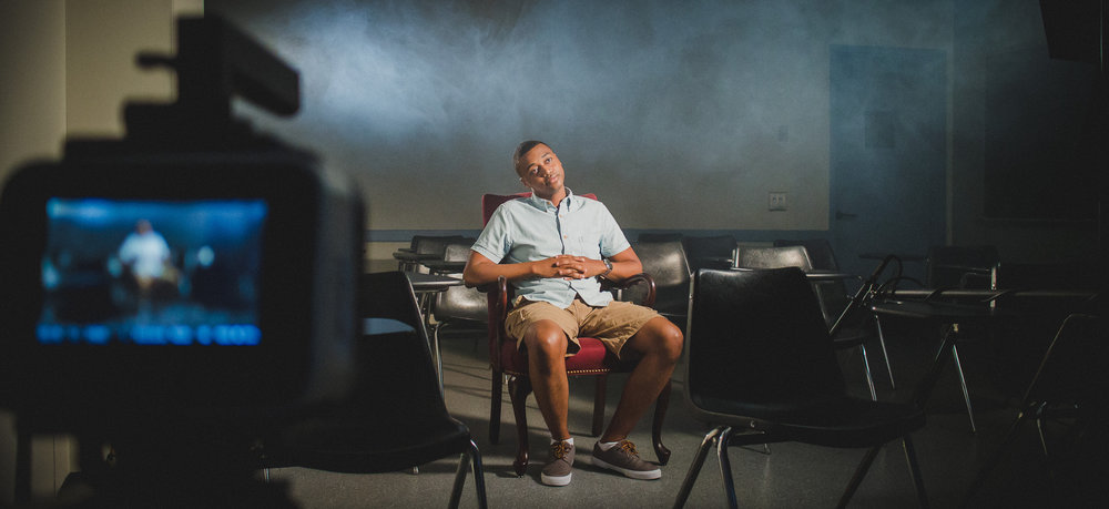 Actor Sean Ryan takes a break while filming Scholly's first promo video in 2014.