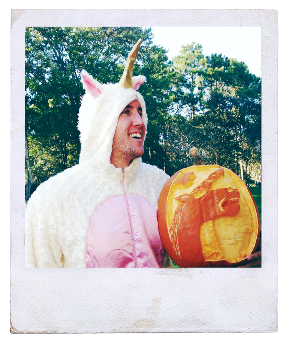 - And yes, that is a matching unicorn carved into a pumpkin, so... you're welcome.