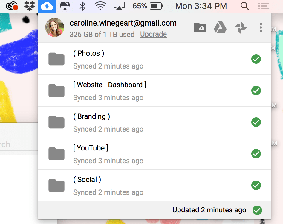 When you save files to any folders synced with your Drive, they will automatically upload to the cloud