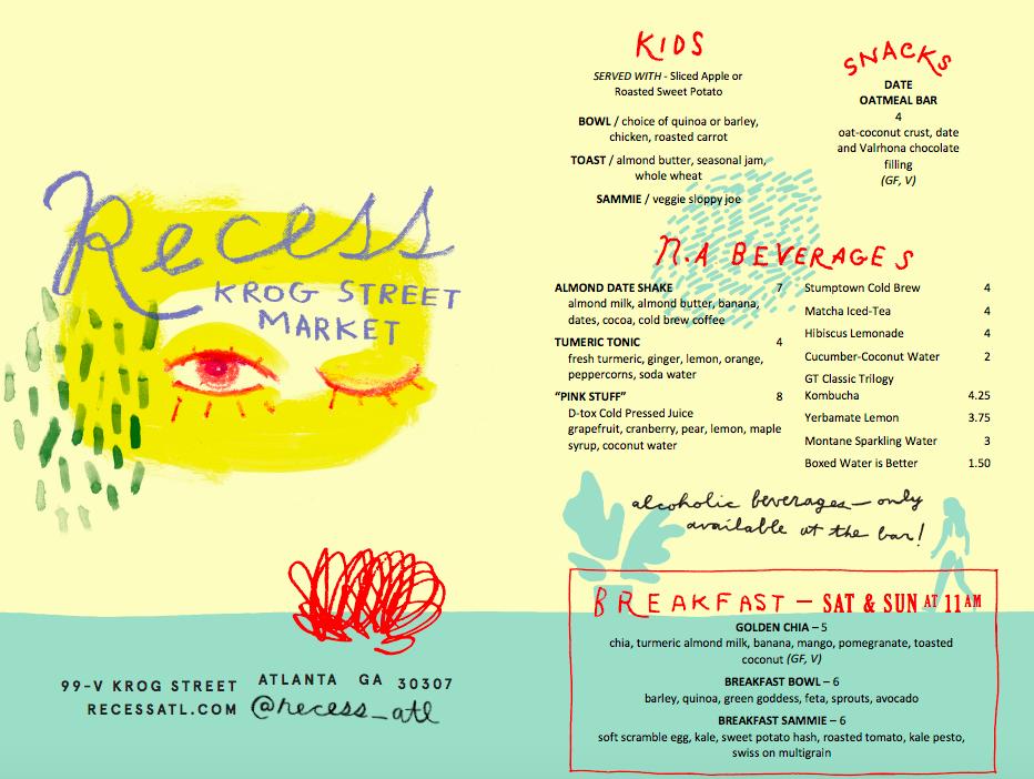 Recess Atlanta branding and menu