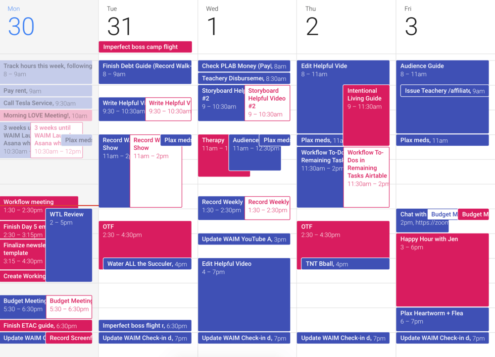 Our calendars typically only look like this during busy projects. Otherwise, it's a lot calmer!