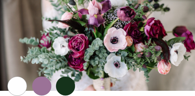 EXQUISITE    Orchid, Hunter Green, White   This soft, romantic shade of pinkish purple works well with almost any other color. Combine it with deep hunter green and white, and you have a gorgeous palette that can work equally well in casual and formal weddings.