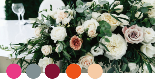 ROSY    Rose, Gray, Burgundy, Orange, Pale Peach   Rich, romantic mauve rose is a vintage jewel tone and combines beautifully with burgundy and peach to create an elegant, feminine look. Metallic gray adds a punch and helps create this dazzling, slightly moody palette.
