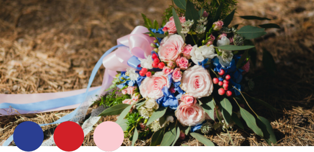 DELIGHT    Blue, Red, Pink   Royal blue is back in style this year, and combines beautifully with red and pink to create a bright, harmonious palette. This approachable combination is perfect for creating the handmade look and feel of a bohemian Summer wedding.