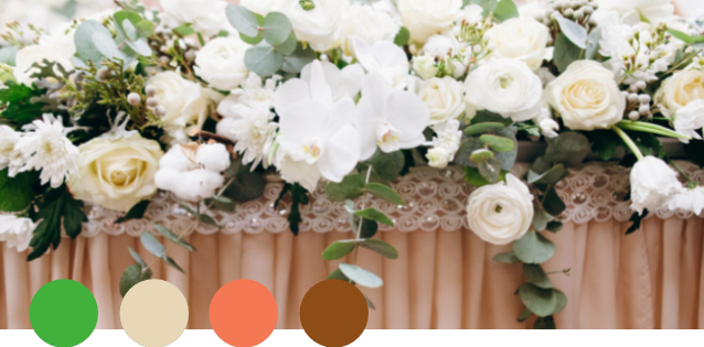 OASIS    Lime Green, Beige, Peach, Brown   Think of beaches and palm trees, and you have this palette: subdued peach and neutral tones combine with pops of lime green to create a bright, cheery feeling. Sophisticated and fun, this is a perfect combination for a casual outdoor wedding.