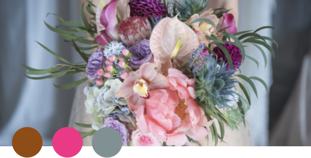 COMFY    Brown, Rose, Blue-grey   This warm, caramel-brown tone is everywhere in the fashion world these days. Add a creamy rose and dusty light blue, and you have a soothing, comforting palette that would look wonderful in a wedding merging vintage and modern.