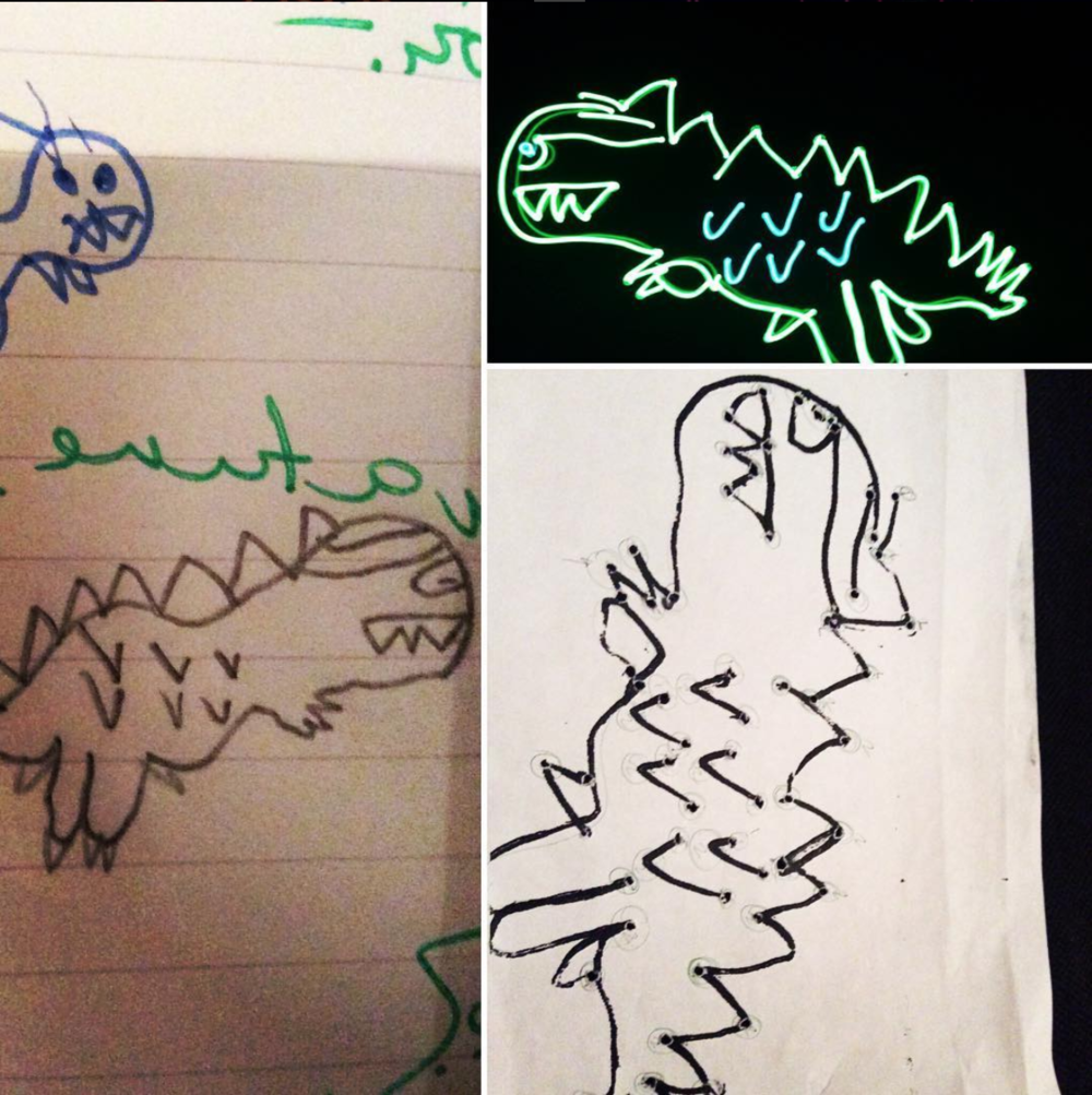 Johnni, aged 8, original dinosaur drawing.