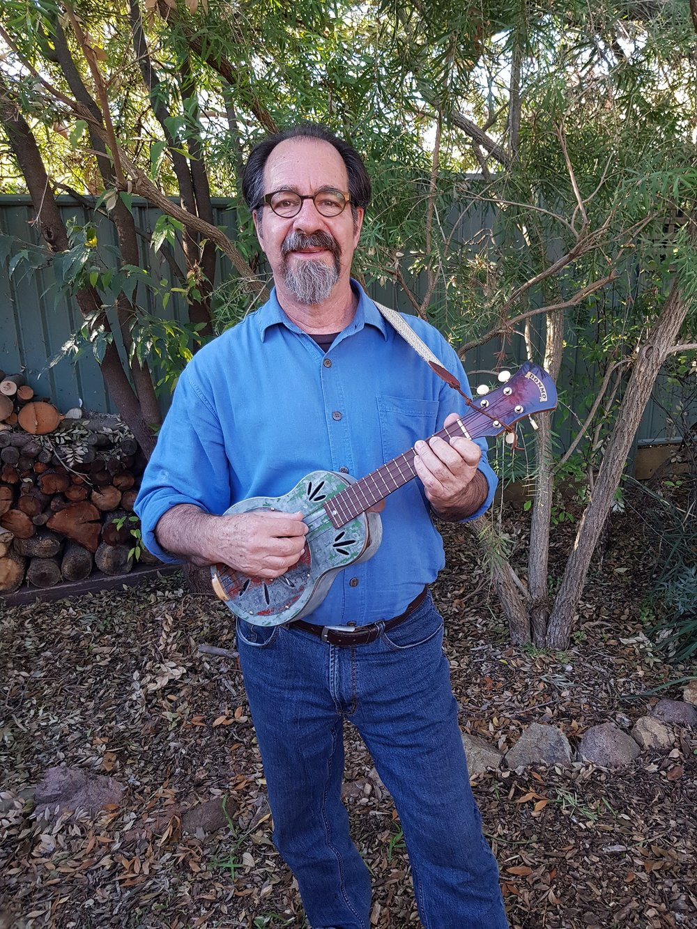 Michael Rosenberg with the resonator ukulele -