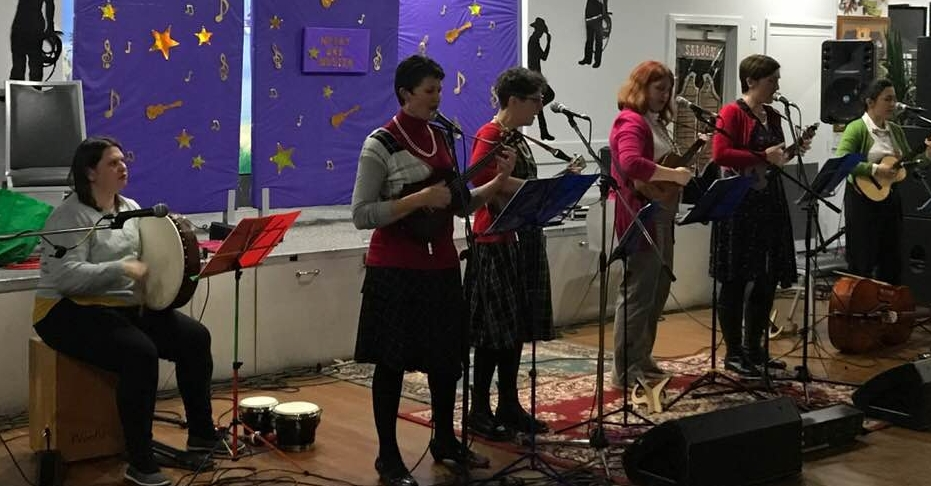 Loud in the Library performing at the Husky Uke Muster in June 2018 -