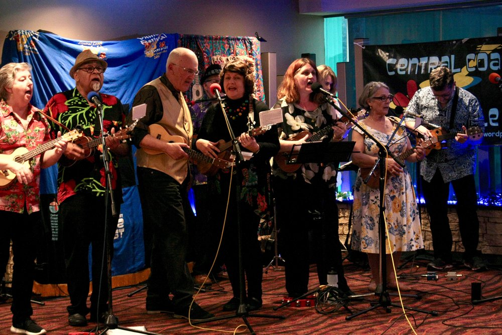 The Ukulele Republic of Canberra performing at the Central Coast Ukulele and Folk Festival in August 2018 -
