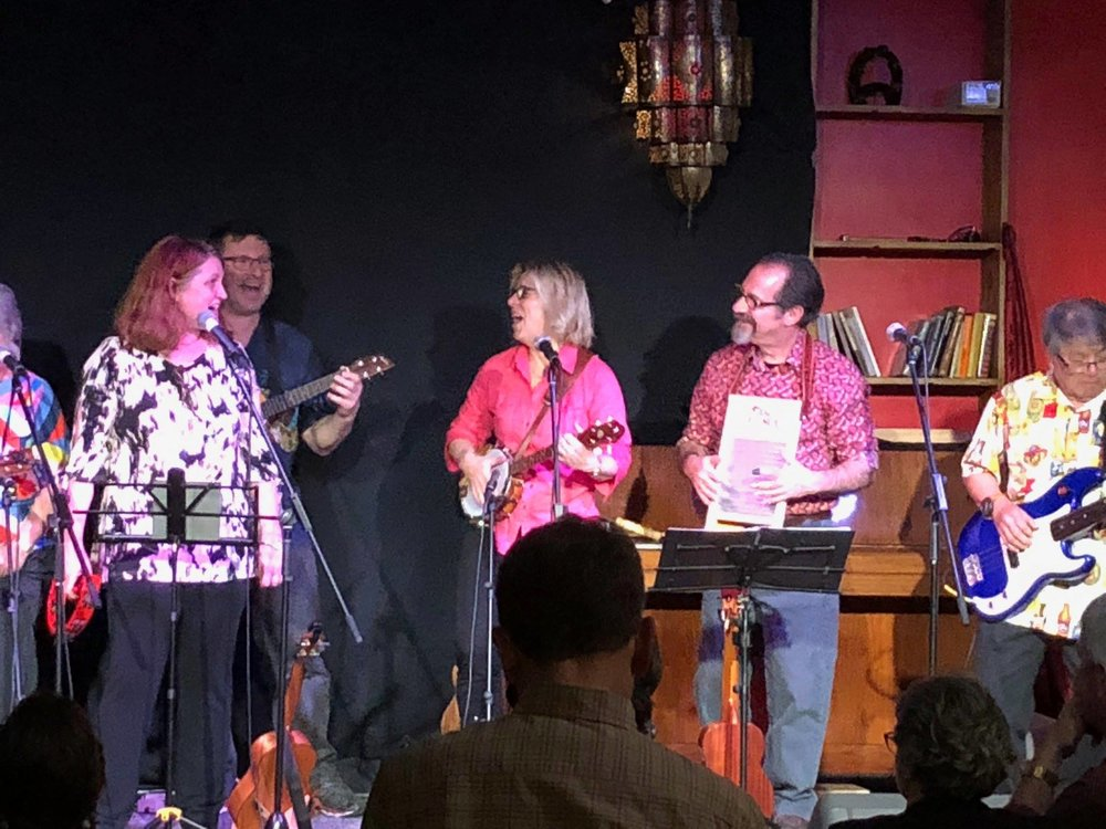 The Ukulele Republic of Canberra playing at Smith's Alternative in September 2018, supporting A.J. Leonard and Jenny Rowlands. From left: Meredith Harper, Rod Fenwick, Janine Chandler, Michael Rosenberg, and Charlie Chan.