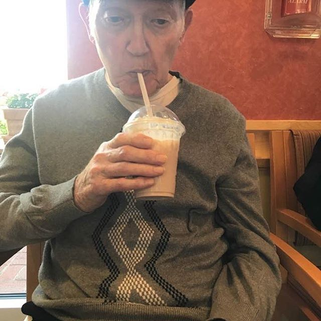 My Granddad enjoying a chocolate shake. Photo by my Aunt Peg. #Irishmug #sweettooth