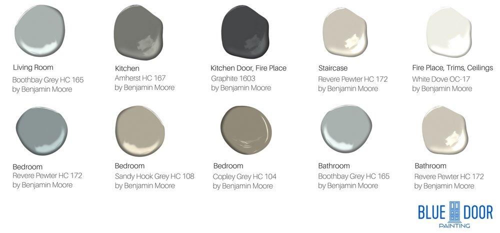 Paint swatches, Benjamin Moore Boothbay Gray HC 165, Amherst HC 167, Graphite 1603, Revere Pewter HC 172, White Dove OC-17, Sandy Hook Grey HC 108, Copley Grey HC