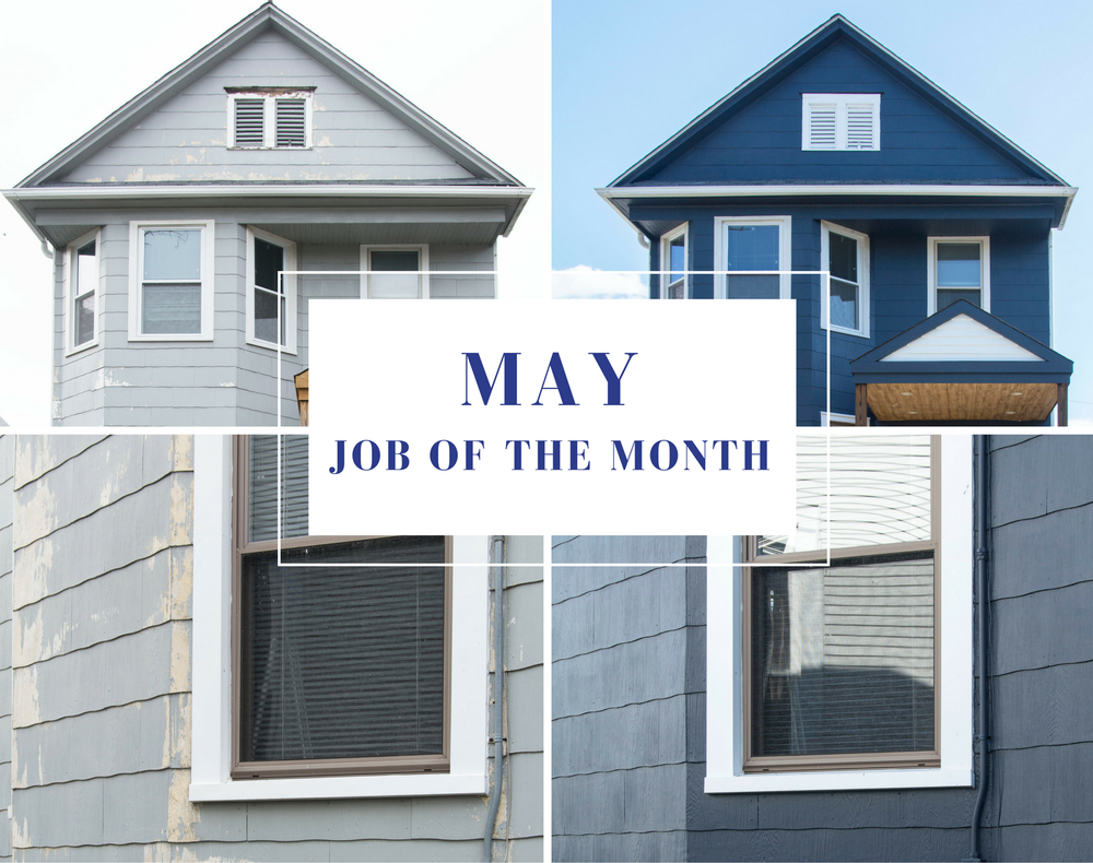 Exterior painting transformation Blue Door Painting Job of the month