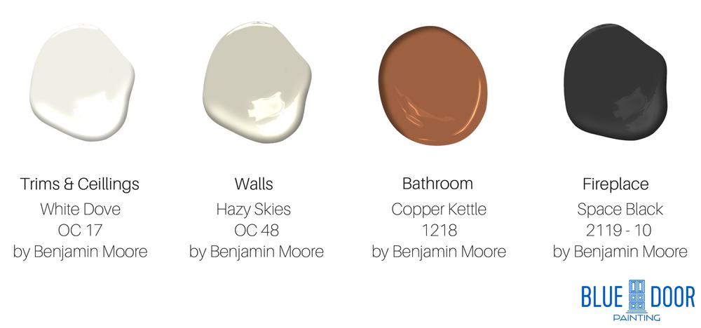 Benjamin Moore White Dove OC 17,Benjamin Moore Hazy Skies OC 48,Benjamin Moore Copper Kettle 1218,Benjamin Moore Space Black 2119-10