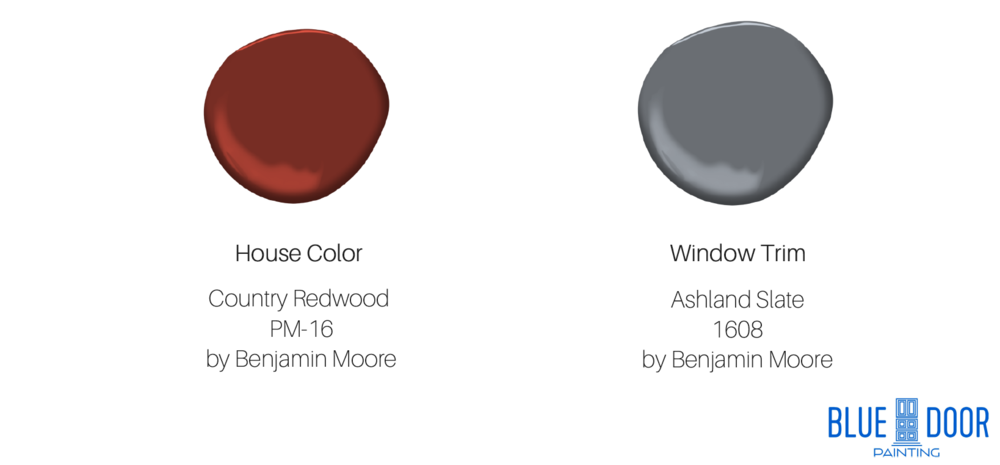 Country Redwood PM-16 by Benjamin Moore, Ashland Slate 1608 by Benjamin Moore, Blue Door Painting
