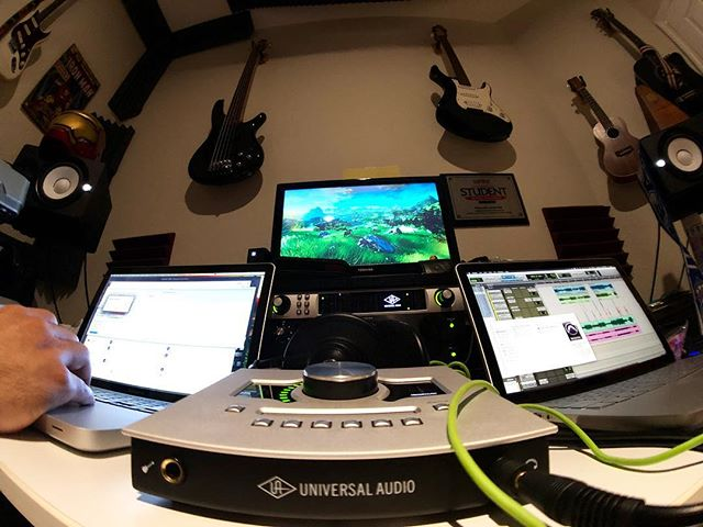 Can anyone guess what's our most used UAD (@uaudio ) plug-in? This pic is a great representation on how @jsaldana1028 and I roll on weeknights 😎 . P.S. yes... that is a Zelda BoTW wallpaper on my monitor 🏹 . 📷 @jsaldana1028  #TOSOLS #UAD #universalaudio #apollotwin #apolloquad #protools  #gualo #goodmusic #shotoniphone #iphonephoto #singersongwriter #music #newmusic #miamimusic #originalmusic #fresh #musician #recording #recordingstudio #homestudio #electricguitar #ibanezbass #akgheadphones #zelda #thelegendofzelda #zeldabotw #botw