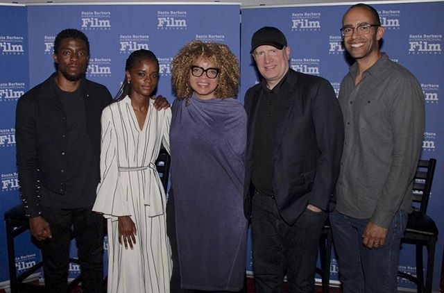 #FBF Attending the #SBIFF's Cinema Society with Black Panther Cast and Crew - @chadwickboseman, @letitiawright, producer @kevfeige, and executive producer #NateMoore. . . . . . #costumedesign #costumedesigner #blackpanther #blackfilm