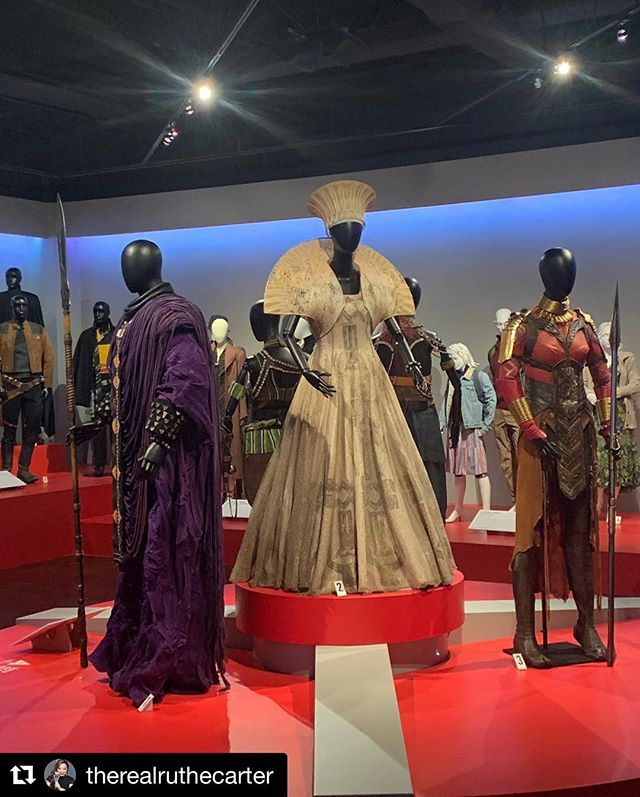 "Opening TODAY in LA! Check out Black Panther costumes on display! . . Repost @therealruthecarter with @get_repost ・・・ @blackpanther costume designs featured in @fidmmuseum's 27th Annual ""Art of Motion Picture Costume Design"" exhibition. This exhibit opens to the public tomorrow (February 5th). Make sure you stop by and check it out. . . . . #costumedesign #costumedesigner #blackpanther #blackfilm #FIDM #oscars #academyawards #oscars2019"