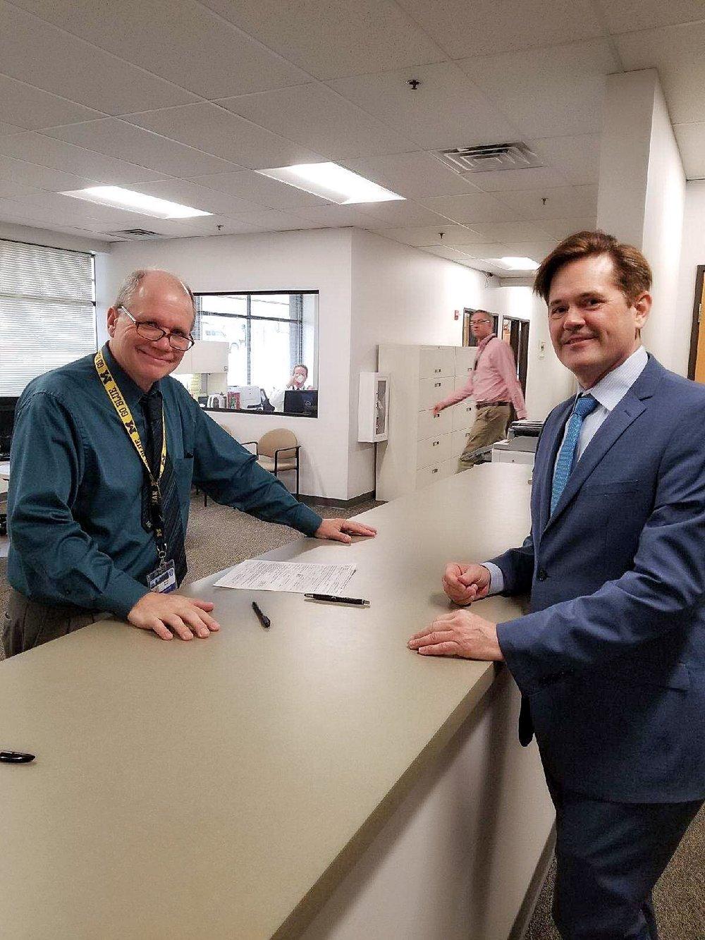 Steve Bieda filing for Macomb County Clerk today.