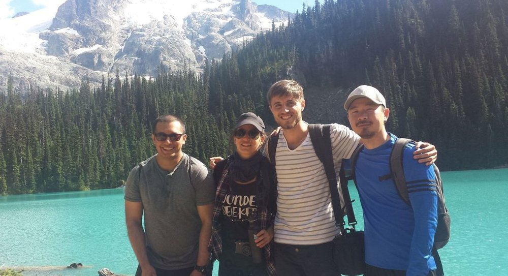 "Daniel and friends at Joffre Lake. The ""Italian friend"" is to his right."