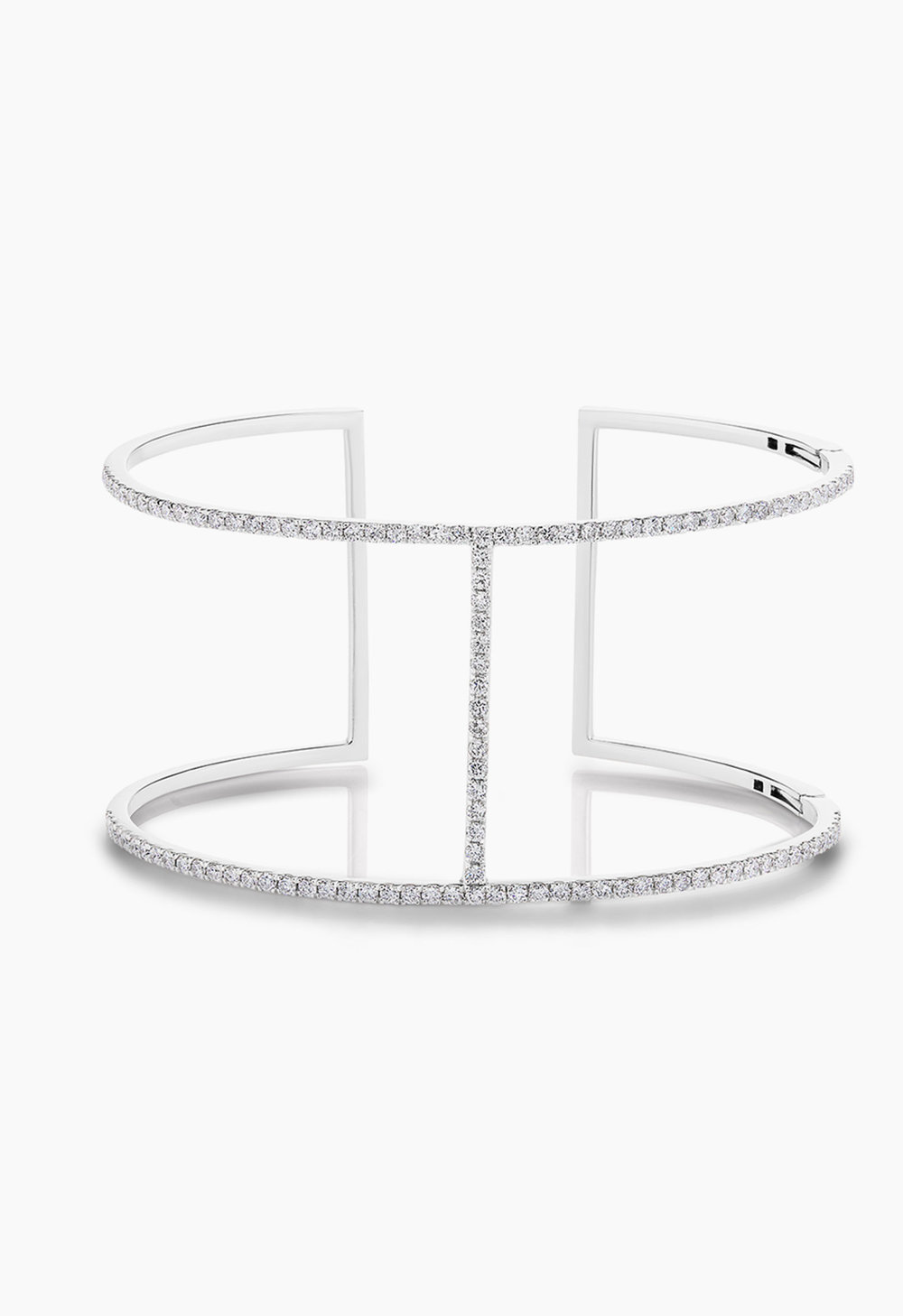 The KBH CUFF - The brand's namesake with a signature H, 14K reclaimed solid gold for strength. 1.77 CTW handset of fine, cultivated diamonds, colorless - D, E, F and clarity - VS