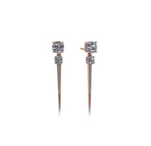 DIAMOND STUD SPIKES - The edgy counterpart to your elevated basic stud - two flawless 1/4 carat diamonds lead down to a diamond accented beaded spike, 14K reclaimed solid gold for strength.$1,850