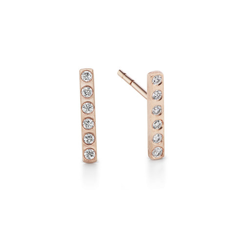 DIAMOND SHORT BARS - Skilled craftsmanship shines in these intricately set modern bar earrings with an edgy, textured finish 14K reclaimed solid gold for strength and daily wearability.From $275