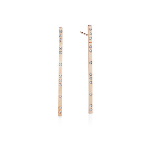 UNEVEN BAR EARRINGS - Skilled craftsmanship shines in these intricately set modern bar earrings with an edgy, textured finish 14K reclaimed solid gold for strength and daily wearability.$1,150
