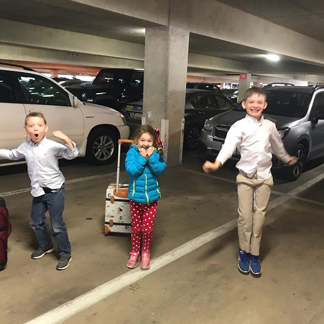 This is what surprising your kids with #DisneyWorld in the airport parking garage looks like....! #seeyarealsoon #disneyherewecome #disneyworld