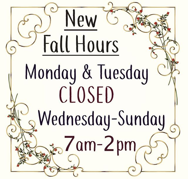 New Hours! We will now be CLOSED on Mondays & Tuesdays 🍁🍂🍃 #bagelhousepdx #eisenhowerbagelhouse #newhours #fall